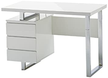 Bureau blanc laqué cm bureau en pin massif laqué blanc junco
