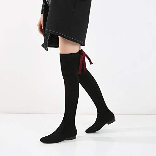 Shukun Stiefeletten Damenschuhe und Herbst und Damenschuhe Winter Damen Schwarze Lange Stiefel dick mit flachen Studenten halten warme Knie Damenstiefel a15dbe