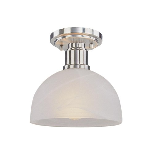 Z-Lite 314F-BN Chelsey One Light Flush Mount, Metal Frame, Brushed Nickel Finish and White Swirl Shade of Glass Material by Z-Lite