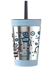 Contigo - 2075533 Contigo Spill-Proof Kids THERMALOCK Stainless Steel Tumbler with Straw, 12 oz., Nautical with Robots