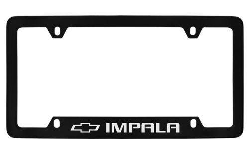 Chevrolet Impala Black Coated Metal Bottom Engraved License Plate Frame Holder (Impala License Plate Frame)