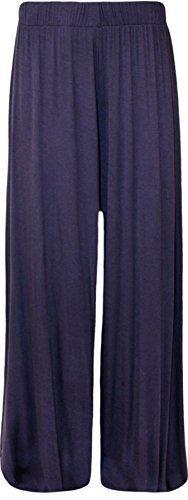 New Plus tamaño señoras Plain Palazzo amplia pierna acampanada pantalones de mujer pantalones 8–�?6 azul marino
