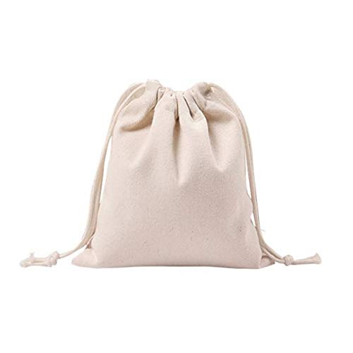 Women Drawstring Bulk Bags Beam Port Canvas Storage Pouch Travel Bag Breathable Shopping Bag