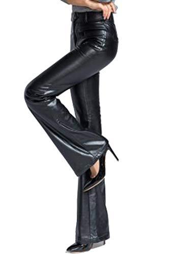 (Design Women PU Leather Wide Leg Pants Straight Long Trousers Female Leisure Velvet Black,Black,XL)