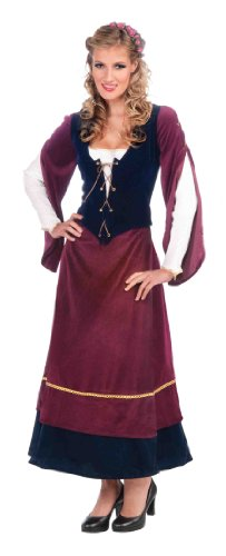 Forum Medieval Wench Deluxe Costume, Plum/Black, Standard (Wench Shoes)