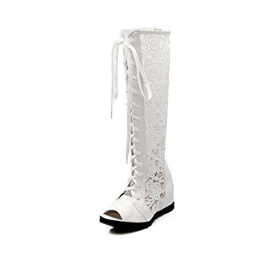 1TO9 Girls Bandage Zipper Mesh Sandals White qdTLL7E