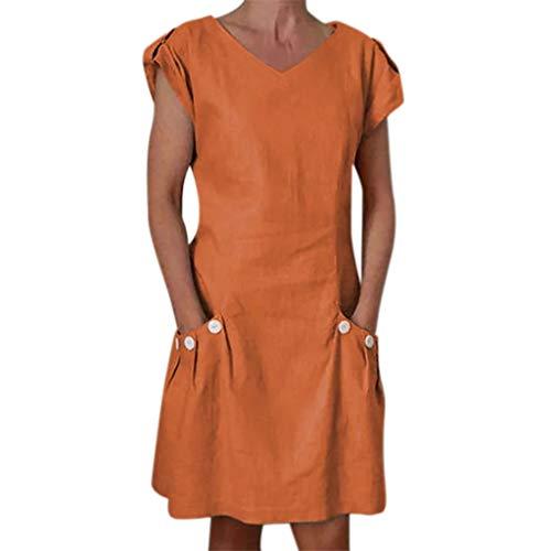 Wobuoke Fashion Women Solid Ruffled Pockets O-Neck Shift Daily Buttoned Decor Dresses Orange