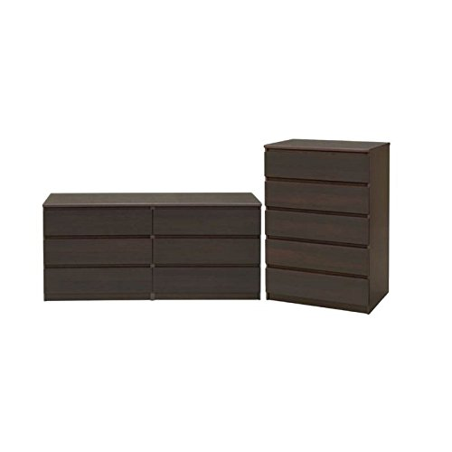 2 Piece Set Bedroom Set - Home Square 2 Piece Bedroom Set with 6 Drawer Double Dresser and 5 Drawer Chest in Coffee