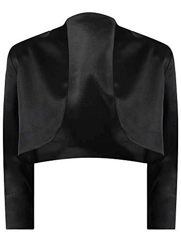 (Luxury Divas Black 3/4 Sleeve Satin Bolero Shrug Jacket Size XL)