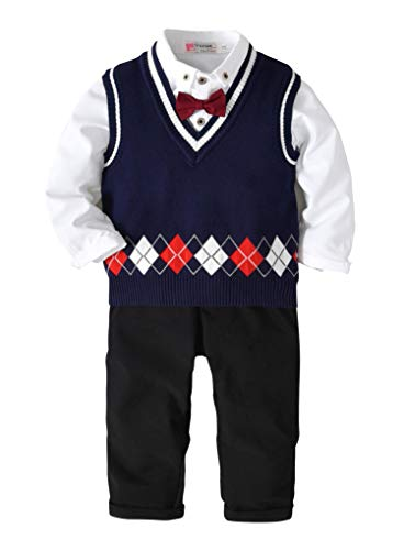 Pinleck Tollder Baby Boy Clothes Bowtie Gentleman Shirt Kint Sweater Vest Pants Outfits (Navy Blue, 140/Fit 6-7 T) by Pinleck