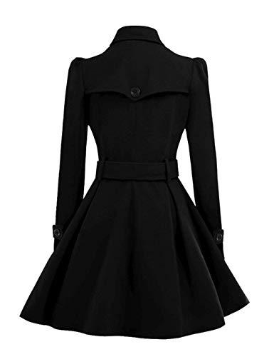 line A Avec Ceinture Manteau Trench Coat Vintage Col Style Long Élégant Femme Cape Plissé Hiver Femmes Serface Gabardine Noir Roulé Chaudes HnwUWPFq7