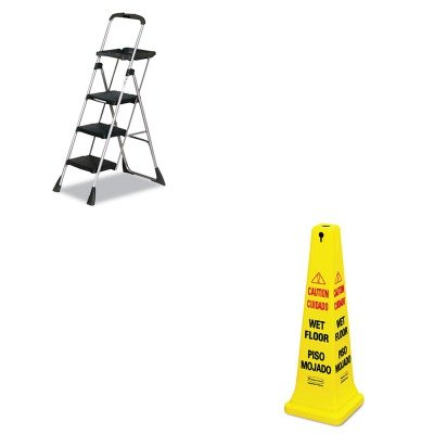 (KITCSC11880PBLW1RCP627677 - Value Kit - Rubbermaid-Yellow Four Sided Safety Cone (RCP627677) and Cosco MaxTM Work Platform Project Ladder (CSC11880PBLW1))