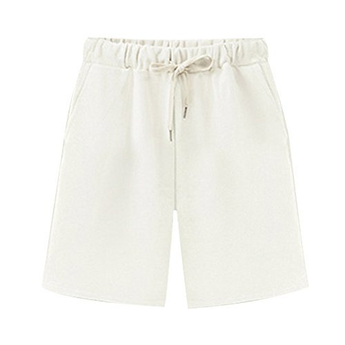 Women's Elastic Waist Soft Knit Jersey Bermuda Shorts with Drawstring White Tag 4XL-US 16 ()