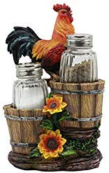 "Ebros Sunflower Farm Crowing Rooster Standing On Fence By Old Fashioned Wooden Buckets Glass Salt And Pepper Shakers Holder Figurine 6.5""H Chicken Country Western Decorative Sculpture"