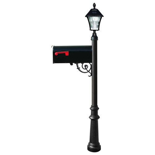 Lewiston Mailbox with Post (Fluted Base and Solar Lamp) Color: Black -