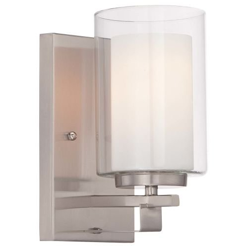 Minka Lavery 6101-84 Parsons Studio 1 Light Wall Sconce in Brushed Nickel with Clear and Etched White Glass
