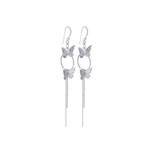 925 Sterling Silver Butterfly 16mm Hoop Dangle Earrings with French hook Findings