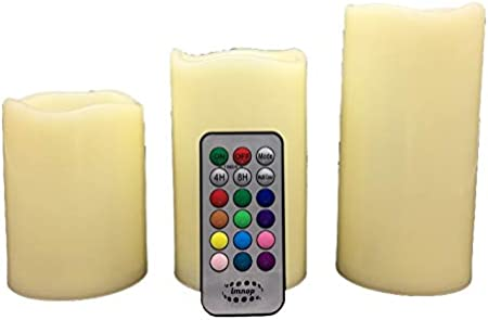 lmnop Radiant-Candle Set of 3 Flameless Color Changing LED Water Resistant Indoor /& Outdoor with Remote and Flicker mode Cixi Enyoo Optronics /& Appliance Factory