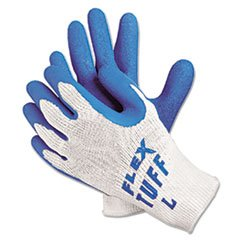 FlexTuff Latex Dipped Gloves, White/Blue, Large
