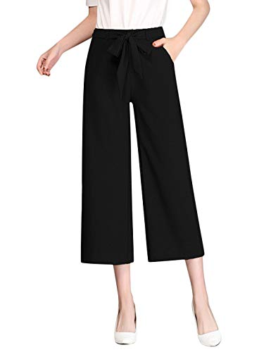 - Tanming Women's Summer Casual High Waist Tie Knot Wide Leg Cropped Pants Trousers (Medium, L-Black)