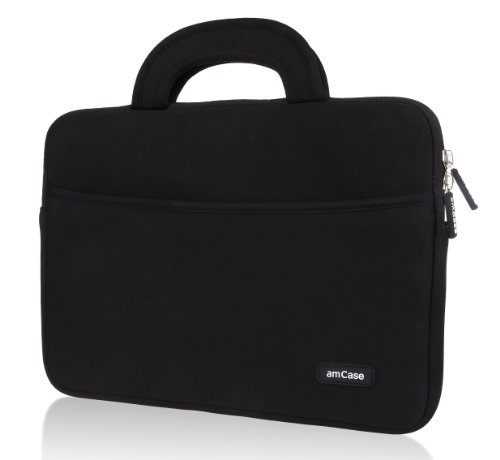 amCase 11.6-inch Sleeve/Case for Acer C720/C720P Chromebook / Samsung Chromebook/Samsung Chromebook 2 /Apple MacBook Air/Netbook/HP Chromebook 11/Acer C710/Lenovo THINKPAD Helix (Tablet Only) Protective Neoprene Cushion Material with Handle (BLACK)