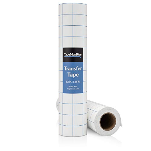 Vinyl Transfer Tape, 12 inch x 25 feet, Paper with Alignment Grid