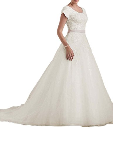 Buy beautiful short sleeve wedding dresses - 8