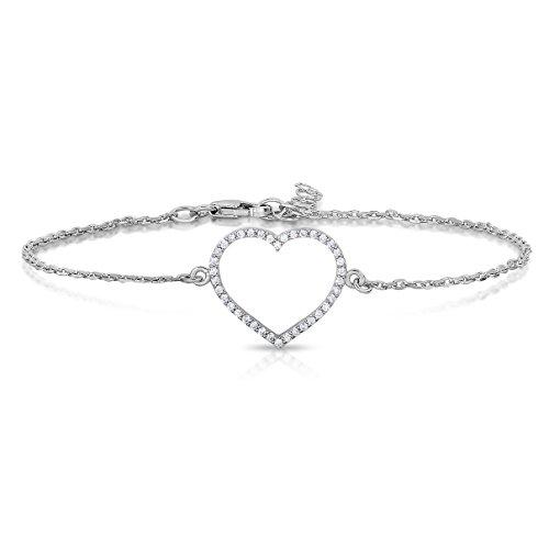 Sterling Silver Fine Open Heart Bracelet with Cubic (Single Heart Bracelet)