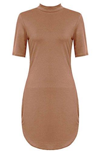 Dip Mini Dress DRESS Polo Neck CAMEL Ladies Short TUNIC Womens Hem BODYCON Tunic 21FASHION Curve Bodycon Turtle High MINI znwStg7Wq