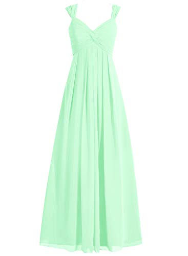 (Cdress Long Bridesmaid Dresses Chiffon Maxi Evening Formal Gowns Wedding Prom Party Dress Sleeveless US 16W Mint Green)