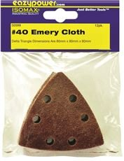 EAZYPOWER 50599 OSCILLATING EMERY CLOTH SANDING PAD, 3-1/8 IN., 40 GRIT, 12 PER PACK (6 PACKS)