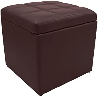Magshion 2 Sizes-Unfold Leather Storage Ottoman Bench Footstool Cocktail Seat Coffee End Table Square