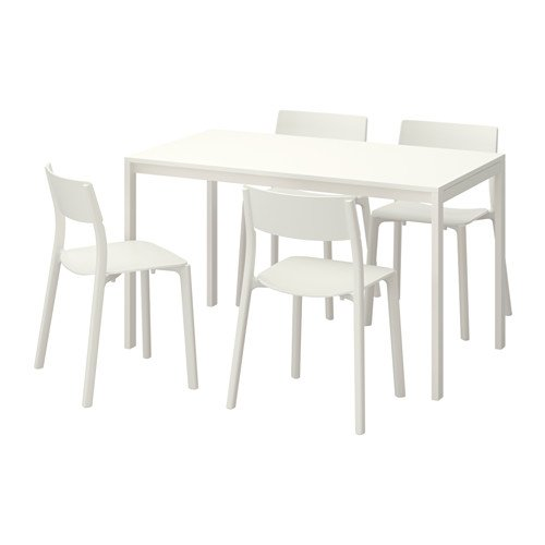 Ikea Table and 4 chairs, white, white 12204.20514.3430