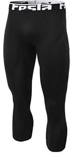 Tesla TM-YUC32-BLK_Large Mens Compression Capri Shorts Baselayer Cool Dry Sports Tights YUC32