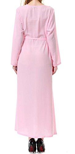 Puro Abito Malaysia Cintura Rosa Cromoncent Lunga Manica Con Abaya Abito Musulmana Colore Donne Islamico 6pFqxWEp