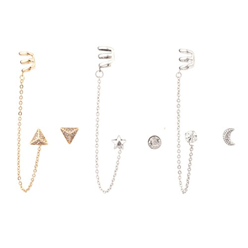 xy Star Crescent Pave Moon Pyramid Ear Cuff Multiple Set ()