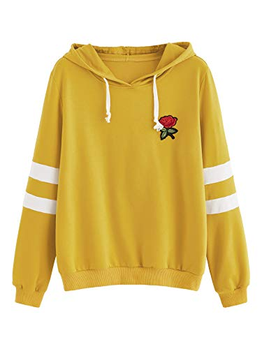 DIDK Women's Embroidered Rose Patch Stripe Sleeve Hoodie Sweatshirt Yellow M