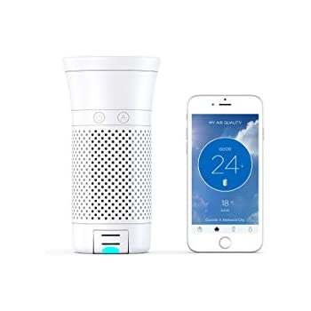 Wynd Smart Portable Air Purifier with Detachable Air Quality Tracker (White Matte)