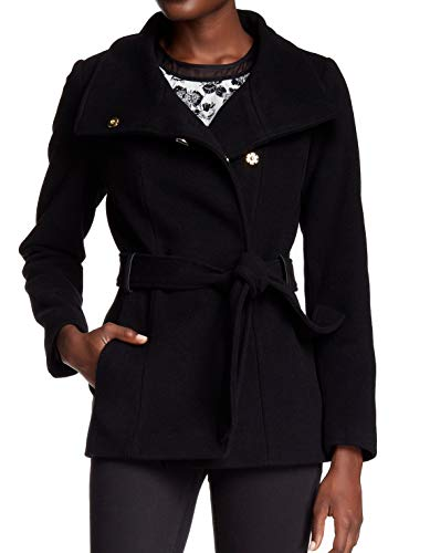Cole Haan Women's Belted Double Breasted Jacket With Snap Black 14