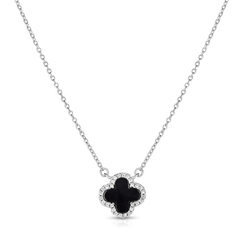 Alhambra Clover Necklace - Unique Royal Jewelry Sterling Silver Black Onyx and Cubic Zirconia Four Leaf Clover Necklace with Adjustable Length. (Natural Silver)