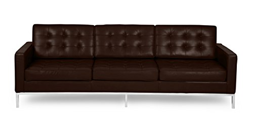 Kardiel Florence Knoll Style Sofa 3 Seat, Choco Brown Anilin