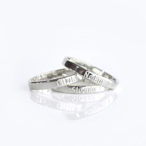 Mothers rings, kids name rings, stackable rings, personalized engraved ring, custom signet ring, mom rings, sterling silver ring ()