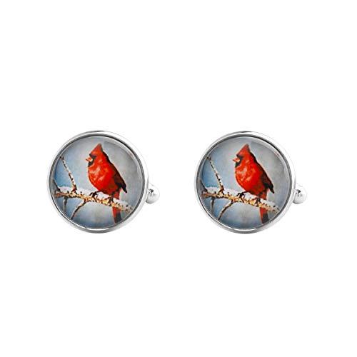MYOSPARK Red Bird Cardinal On Branch Round Glass Cufflinks Memorial Jewelry Sympathy Gift In Memory of Loved One (cardinal cufflinks)