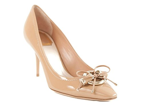 Dior Christian Beige Patent Leather Metal Twist Pumps 39 US (Christian Dior Patent Leather)