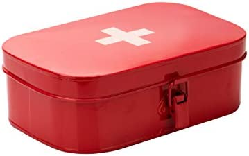 .xls Mind Reader Galvanized Steel First Aid Storage Box, Container with Buckle Lock, Organizer for Medical Supplies, Bandages, Locking Medicine Tin, Red, 1-Compartment