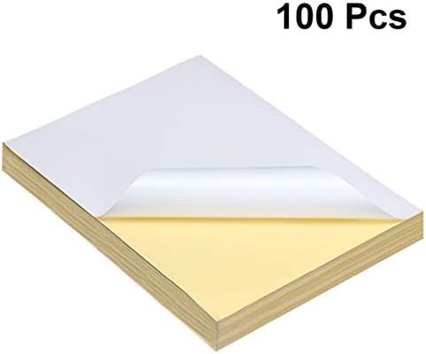 Hakka 100 Stück Bedruckbares Aufkleberpapier A4 Aufkleberpapiere Inkjet Wasserdichtes Aufkleberpapier Etikettenpapier Druckpapier für Büroschule zu Hause