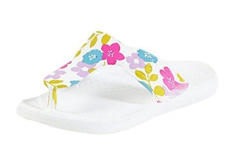 CLEOSTYLE Angesagte Damen Badeschlappen, Slipper, Badesandalen mit Blumendruck und Zehentrenner CL 296 Flieder / 1
