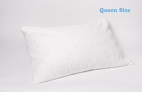 Memory Foam Impressions Pillow (JustNile Queen Size 100% Natural Latex (Shredded) Adjustable Pillow | Ventilated Plush Foam | Soft | Ergonomic for Comfortable Sleep; with Extra Cover Included – Standard Dimensions)