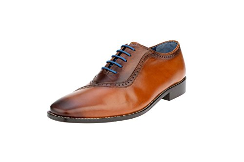 Liberty Men's Handmade Leather Burnished Toe Oxford Lace Up Dress Shoes - Leather Sole Dress Shoes