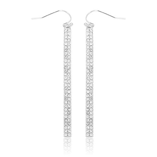 Sparkly Simple Lightweight Geometric Open Hoop Drop Earrings - Cut-Out Dangles Teardrop/Pear/Pointy Oval/Marquise/Circle Cubic Zirconia Crystal/Multi Rhinestone (Vertical Bar Drop - Silver Crystal) (Round Earrings Marquise)